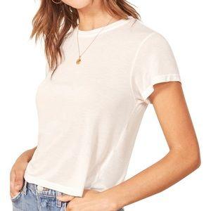 Reformation Maddie Crop Tee Shirt White Sz S